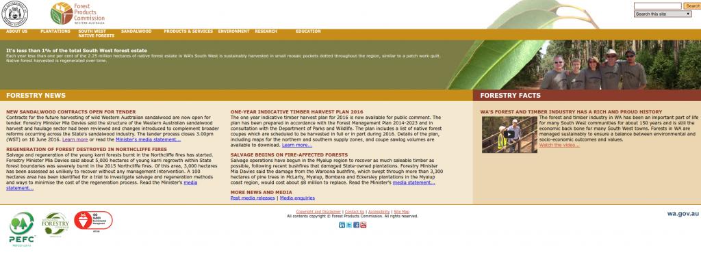 Screenshot of the original FPC website.