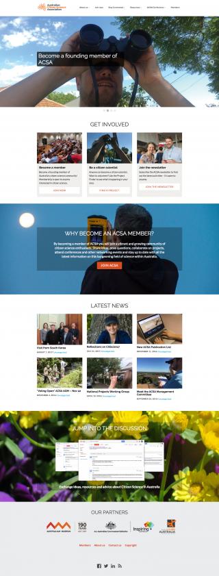 Screen shot of the new ACSA website