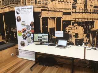 Display of Gaia Resources stand at the Open Data event in Brisbane in March 2018