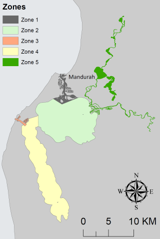 The five Dolphin Watch survey zones in the Mandurah region