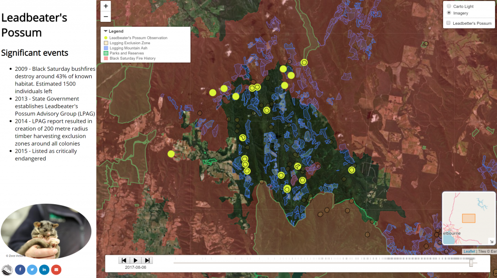 A portion of the species distribution area of Leadbeater's Possum with a set of other spatial layers