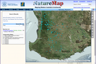 NatureMap's spatial data view for Eucalypytus wandoo records