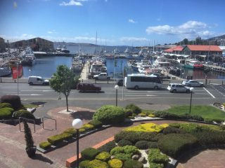 The view from the conference room showing the Derwent River and harbour