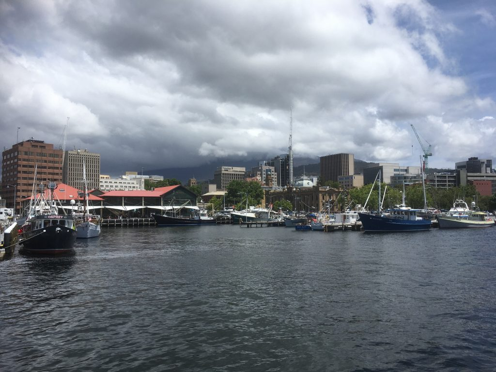 The impressive view of the Hobart skyline for Day 2 of the conference