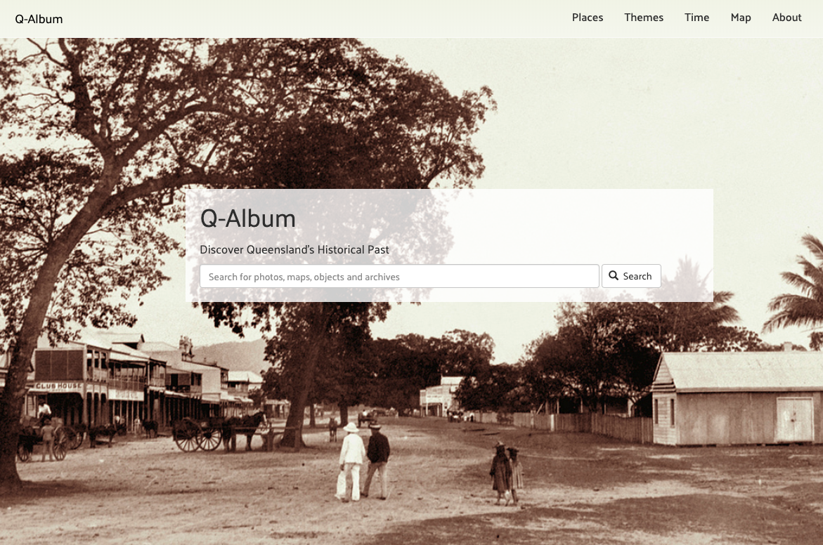 Screenshot of the home page of Q-Album