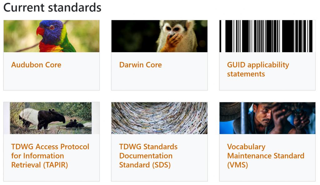Current TDWG data standards